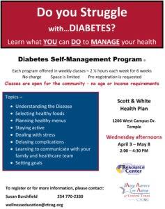 Flyer April Diabetes Self Management Classes