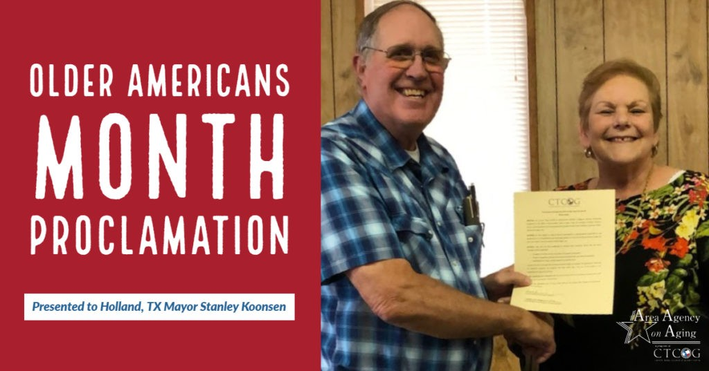 Older Americans Month proclamation presented to Holland, TX mayor