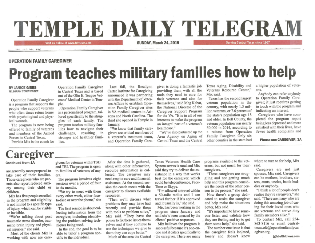 TDT article on Operation Family Caregiver partnership