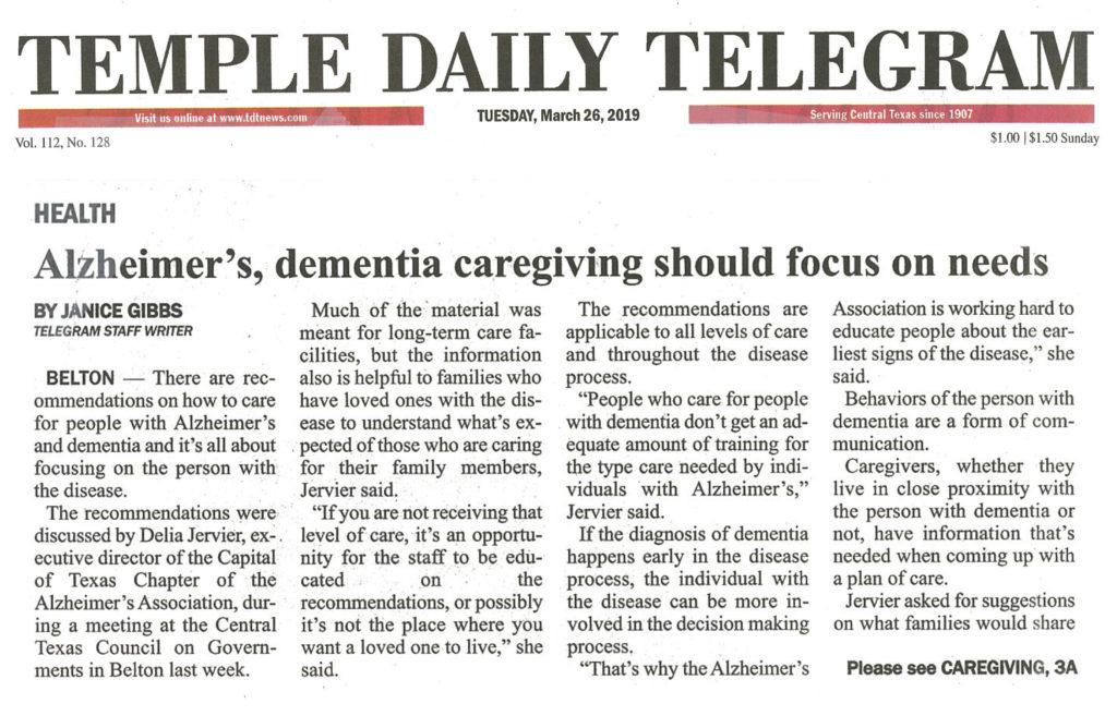 TDT article Alzheimers Caregiver Workshop