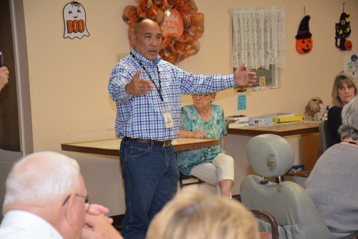 Tony Austin Director of Rural Operations at Hill Country Transit District speaks at Lampasas Town Hall