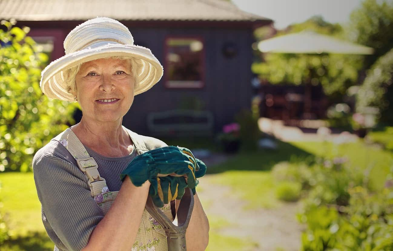 older women at home in garden